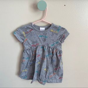 Baby Girls Gray Sloth Hula Hooping Dress